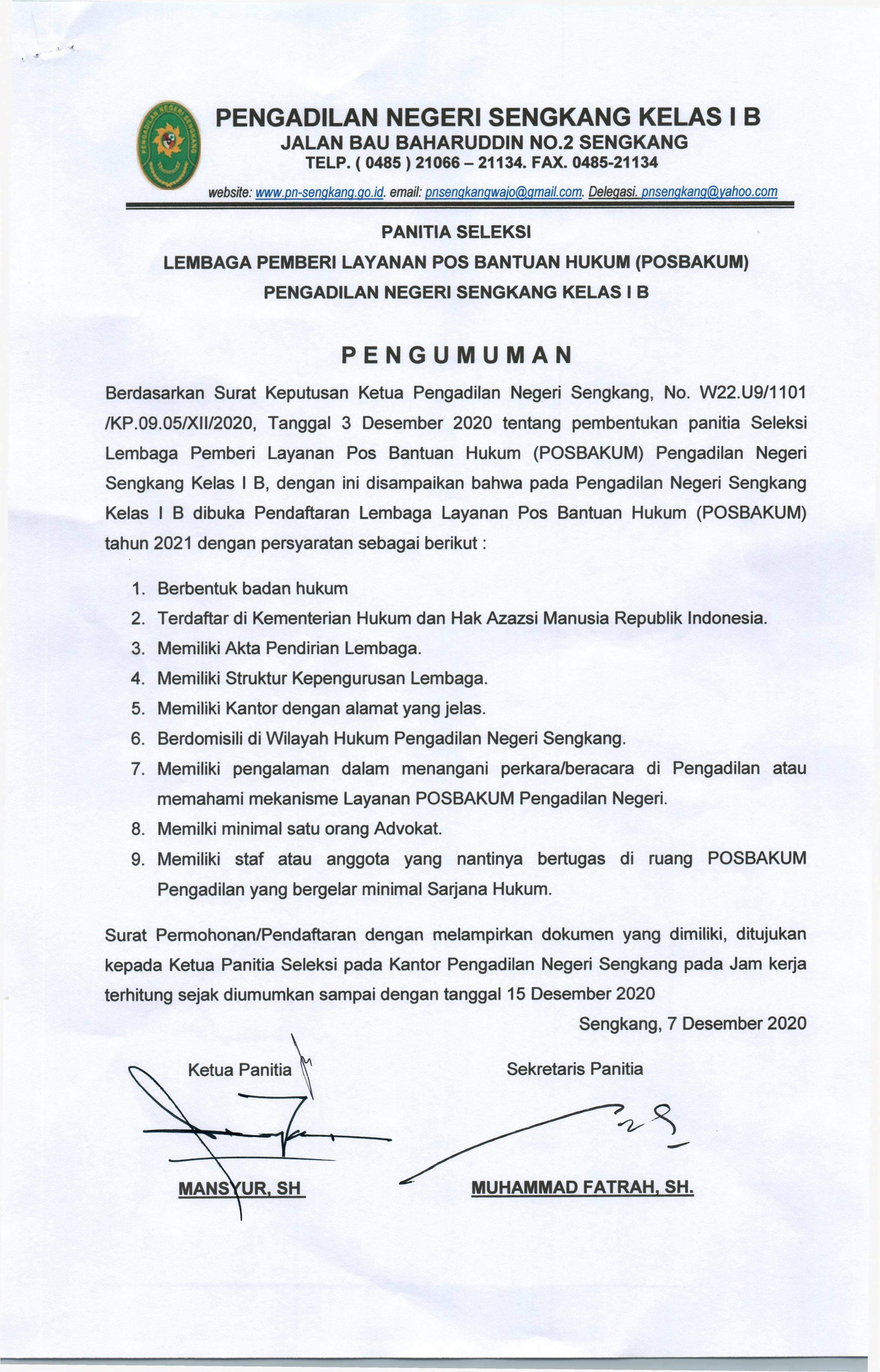 PENGUMUMAN PENDAFTARAN POSBAKUM TAHUN 2021